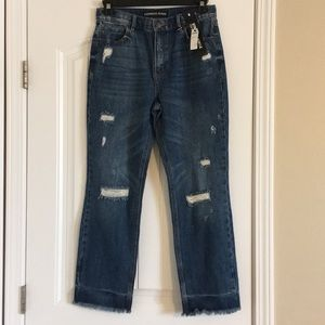 Express High Waisted Straight Ankle Jeans
